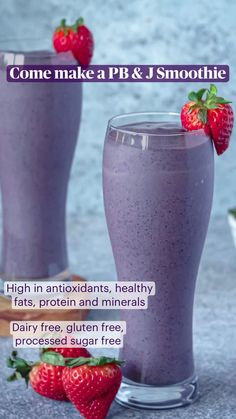 Pb And J Smoothie, High Protein Smoothies, Cherry Smoothie, High Protein Snacks, Green Smoothie Recipes, Protein Foods, Weight Loss Smoothies, Protien Shake Recipes, Protein Powder Recipes