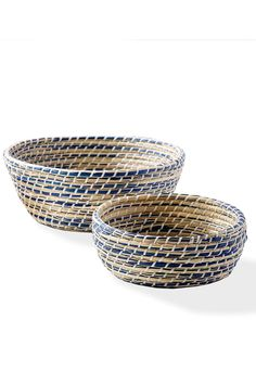 """Perfect for corralling seasonal fruits and vegetables these versatile and handsome bowls naturally integrate the outdoors inside.  Measures 3 3/4"""" H x 10"""" Dia 5"""" H x 13"""" Dia  Woven Bowls Set by Two's Company. Home & Gifts - Home Decor - Decorative Objects Maryland"""