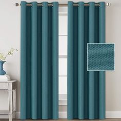 VERSAILTEX Linen Blackout Curtains 108 Inches Long Room Darkening Heavy Duty Burlap Efffect Textured Linen Curtains/Draperies/Drapes for Living Room Bedroom - Aegean Blue Panels) Curtains And Draperies, Home Curtains, Burlap Curtains, Green Curtains, Grommet Curtains, Blackout Curtains, Window Curtains, Window Treatments Living Room