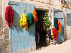 Dyed wool drying in the sun in Essaouira, Morocco