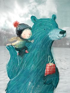 A little boy and his bear by Sarah Massini love this style of illustration I might try it one day