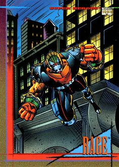 Did you know: Rage is actually a mutated old boy! *Source: Back of Card Rage SkyBox Trading Card Marvel Universe: Series 4 25 A Marvel Universe, X Men, Midnight Son, Absorbing Man, New Warriors, Beast Boy, Black Lightning, Black Canary, Trading Cards