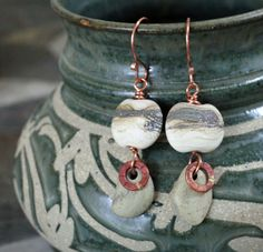 Gentle River - earth toned art glass and river stone earrings. $49.00, via Etsy.