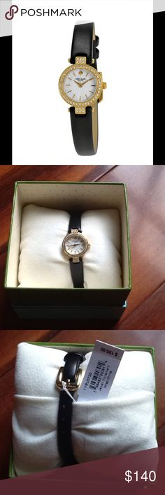 NIB Kate Spade Tiny Metro Watch Beautiful and classy NIB with tags Kate Spade Tiny Metro watch. Black leather band and gold tone hardware. Crystals around bezel. kate spade Jewelry