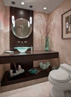 Powder Room Decor Ideas Glass Vessel Sink Round Mirror Wood Countertop Modern Lighting