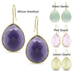 These 22-karat yellow gold faux gemstone earrings will add a beautiful sparkle to any outfit. These earrings feature purple, yellow, green, and pink faux gemstones and complemented with a high polished finish. Their design is perfect for eveningwear.