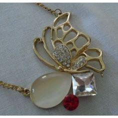 new Modern Butterfly necklace, multi stones & rhinestones