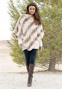 49637c9c11b640 Couture Truffle Chinchilla Faux Fur Poncho