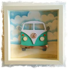 Items similar to VW Camper Van / VW Bus Collage / papercut Picture - Small Shadow box frame on Etsy Box Frame Art, Shadow Box Frames, Diy Frame, 3d Frames, Bus Crafts, Paper Crafts, Scrapbook Canvas, Frame Crafts, Birthday Cards For Men