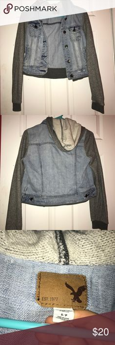 American eagle denim jacket Super comfy denim jacket from ae! Sleeves are soft and so is the hood, only worn a few time! Pockets in the front American Eagle Outfitters Jackets & Coats