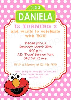 Elmo birthday party invitations sesame street kids birthday girly elmo birthday invitation diy digital printable party invitation 4x6 or 5x7 filmwisefo Choice Image