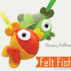 DIY Felt Fish - PDF Sewing Pattern Felt Fish Ornament I am stuffing these with catnip Felt Patterns, Pdf Sewing Patterns, Sewing Toys, Sewing Crafts, Softies, Plushies, Easy Felt Crafts, Craft Projects, Sewing Projects