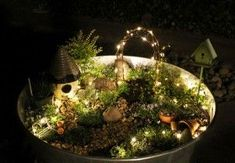 Fairy lights in a fairy garden! Why didn't I think of that?
