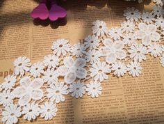 2Yards white silk water soluble embroidery vintage flower lace ribbon decoration