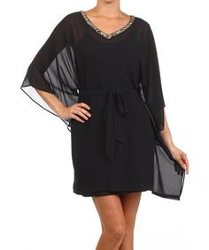 This Black Embellished Cape-Sleeve Dress by Zinga is perfect! #zulilyfinds