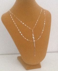 Double strand lariat necklace layering necklaceY by PinkSkyJewelry
