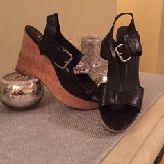 "✨FRANCO SARTO PLATFORM SANDALS✨ Gently used twice.  These are really comfy.  Black leather upper and the sole is cork.  The heel measures 4.25"" H and the front platform is 1.5"" H. Franco Sarto Shoes Platforms"