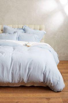 Soft-Washed Linen Duvet love the light blue! Light Blue Bedding, Blue Comforter, Comforter Sets, Boho Bedding, White Bedding, Luxury Bedding Collections, Luxury Bedding Sets, Luxury Bed Linens, Bedroom Designs
