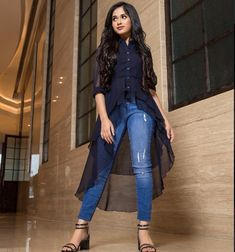 Jannat Zubair Rahmani looks absolutely gorgeous🖤💙🖤💙 Girls Western Wear, Western Dresses For Girl, Western Outfits, Indian Fashion Trends, Indian Designer Outfits, Indian Outfits, Stylish Dresses, Trendy Outfits, Fashion Dresses