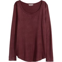 H&M Jersey top ($13) ❤ liked on Polyvore featuring tops, rayon tops, h&m tops, red top, long sleeve jersey top and red jersey