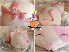 Chat rose gâteau 3D sculpté cake design chocolat confiture pâte à sucre enfant anniversaire petite princesse