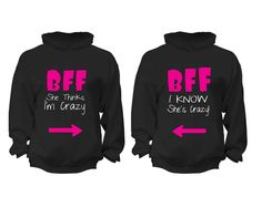 XtraFly Apparel BFF Crazy Pink Valentine's Matching Couples Hooded-Sweatshirt Pullover Hoodie