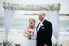 Beach side wedding ceremony elopement