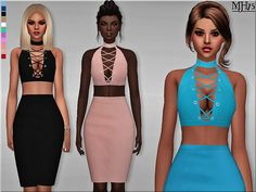 - A unique and stylish fitted halter choker outfit with laced up crop top and high waist pencil skirt in a one-piece outfit  Found in TSR Category 'Sims 4 Female Everyday'