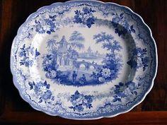 Staffordshire blue and white transferware platter