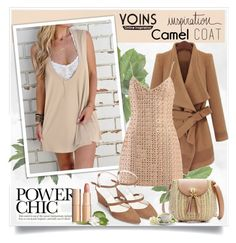 """""""Yoins-camel coat"""" by sneky ❤ liked on Polyvore featuring Nearly Natural, David Koma, camelcoat, yoins, yoinscollection and loveyoins"""