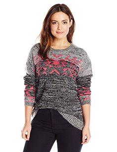 1fc00327c7f Derek Heart Junior s Plus-Size Marled… Aztec Sweater