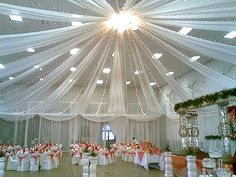 Decorating a wedding reception is almost as important as decorating the actual venue of the wedding ceremony. If you're holding your reception in the same place Trendy Wedding, Our Wedding, Wedding Venues, Dream Wedding, Tulle Ceiling, Ceiling Decor, Ceiling Ideas, Wedding Ceiling, Wedding Table
