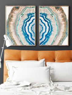 Set of 2 Agate Prints  - Prints (Print #022) - One image is flipped to mirror the other