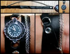 black and silver wrap around watch