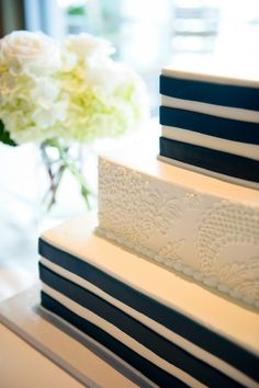 Navy Blue Wedding Cake - Navy Blue Nautical-Themed Sarasota Yacht Club Wedding - Andi Diamond Photography (26)