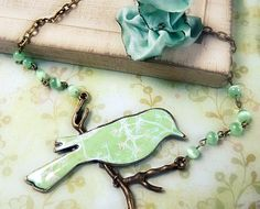 Mint Bird Shabby chic necklace
