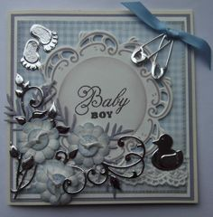 ink'n'rubba Baby Boy card with clear stamp CS0889, Hello Sweet Baby papers PB7041, and various Marianne Design die cut pieces