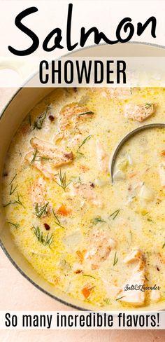 Salmon Chowder Recipe Easy, Chowder Recipes, Easy Soup Recipes, Vegetarian Recipes, Dinner Recipes, Cooking Recipes, Simple Fish Recipes, Salmon Stew Recipe, Delicious Salmon Recipes