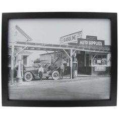 Black & White Vintage Gas Station Framed Art