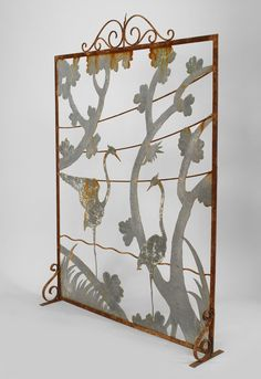 Art Deco American fireplace accessory fire screen wrought iron