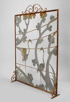 Art Deco American fireplace accessory fire screen wrought iron