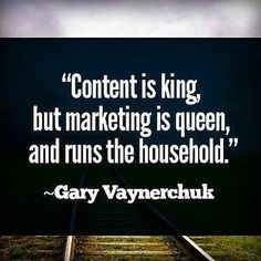 """""""Content is king, but marketing is queen, and runs the household."""" ~Gary Vaynerchuk visit our website. Marketing Blog, Sales And Marketing, Business Marketing, Content Marketing, Internet Marketing, Online Marketing, Marketing Ideas, Marketing Strategies, Mobile Marketing"""