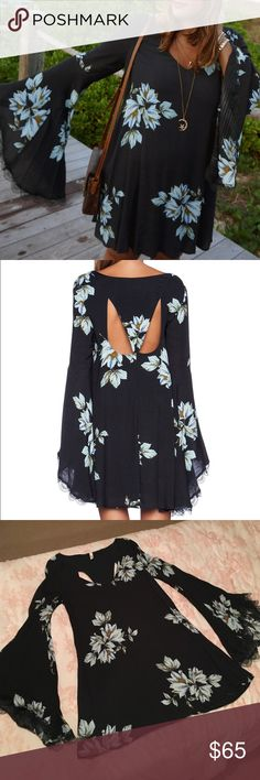 "Free People Wanderer Dress shoulder seam to hem approximately 34"", back cut outs, fully lined, navy with light blue flowers Free People Dresses Mini"