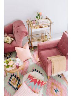 Aviva Velvet Chair, Rose Pink Living Rooms, Glam Living Room, Bohemian  Living Rooms