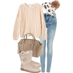 Eleanor inspired outfit with ugg boots  by loopsloopy featuring oversized sweaters  Monki oversized sweater, $50 / High waisted jeans / UGG Australia shearling boots, $315 / Ivanka Trump satchel bag / River Island beanie hat, $21