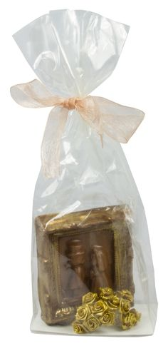 Chocolate Bride and Groom with Gold Flowers. Available in milk, dark and white chocolate.