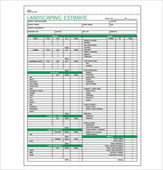 invoice template for yard work Landscaping Estimate Templates – Free Word, Excel & PDF .