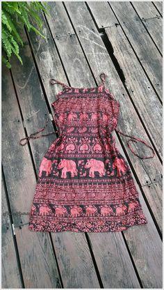 Exotic Dress Spaghetti Straps Elephant Ethnic by TribalSpiritShop
