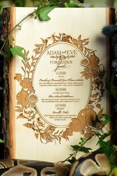Wood engraved #menu for a Garden of Eden-inspired shoot | Photography: Storey Wilkins Photography | WedLuxe Magazine #luxurywedding