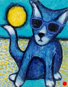 Sun Cat by Lee Smith, Acrylic, 16inches x 12inches Cat 2, Disney Characters, Fictional Characters, Sun, Dogs, Painting, Pet Dogs, Painting Art, Doggies